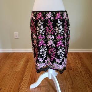 Tahari Arthur S Levine embroidered floral skirt